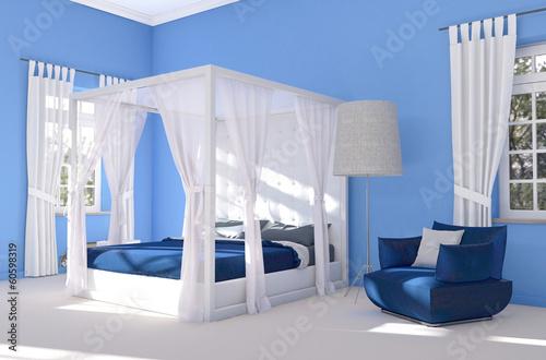 Blaues schlafzimmer mit himmelbett stockfotos und lizenzfreie bilder auf bild - Blaues schlafzimmer ...