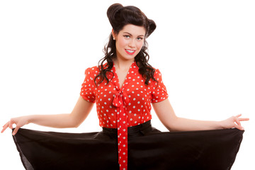 Retro style. Pin-up Girl in red. Vintage young woman isolated