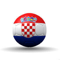 Republic of Croatia flag textured on soccer ball , clipping path