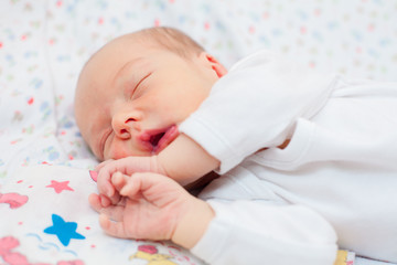 sleeping newborn baby closeup