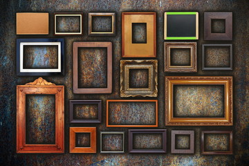 grunge wall full of old frames