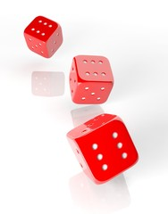 Three red dices of six isolated on white background