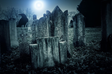 Wall Mural - Cemetery night