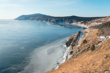 Sea coast in winter