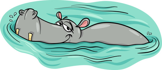 hippo or hippopotamus in river cartoon