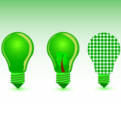 green bulb color vector illustration