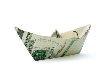 Dollar paper boat