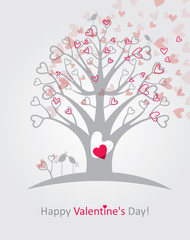 Valentine card with of flowering tree of hearts.