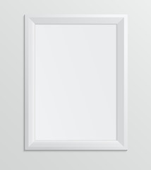 Empty white frame on a white background, design A4 size