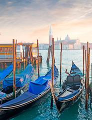 Keuken foto achterwand Gondolas blue gondolas in Venice shore
