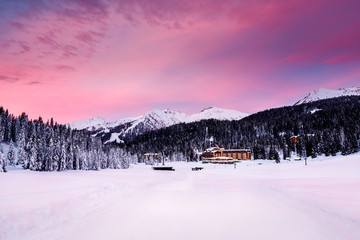 Fototapete - Beautiful Sunrise at Ski Resort of Madonna di Campiglio, Italian