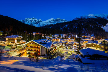Fototapete - Illuminated Ski Resort of Madonna di Campiglio in the Morning, I