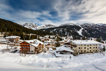 Fototapete - Ski Resort of Madonna di Campiglio, View from the Slope, Italian