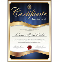 Blue and gold Certificate template