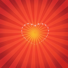Background-Sunburst with Sparkling Hearts