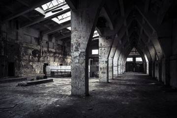 abandoned industrial interior Wall mural