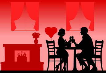 Romantic dinner on Valentine's day silhouette layered