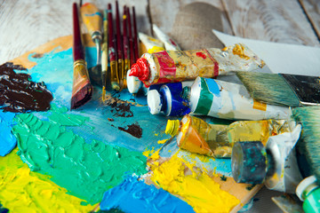 brushes, paints, palette. Drawing set for