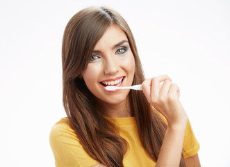 Woman with toothy brush.