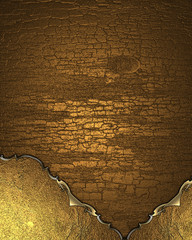 Grunge wood background in gold with a gold pattern