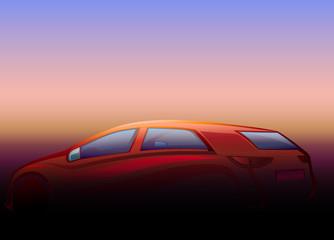 Günbatımı  ve otomobil