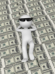 A 3d people lying on the money
