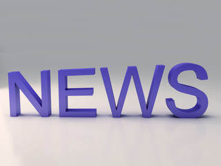 Word news text on 3D