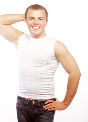smiling muscular caucasian man