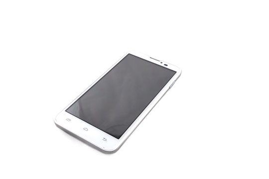 smartphone on a light background. Black screen