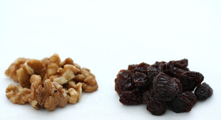 Walnuts and Raisins with Copy Space above