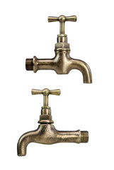 Brass tap isolated on white