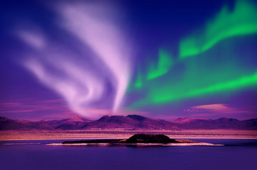 Aluminium Prints Northern lights aurora borealis