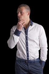 Attractive young man white shirt and blue pants
