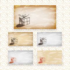 Drawn vector greeting or gift card designs with space for text