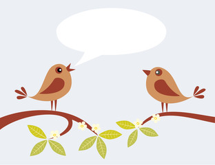 Two cute birds speaking on spring branch.