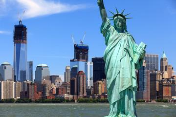 Poster Lieux connus d Amérique New York City - Manhattan und Freiheitsstatue