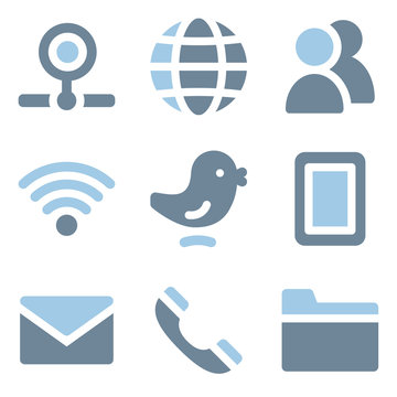 Communication icons, blue solid series