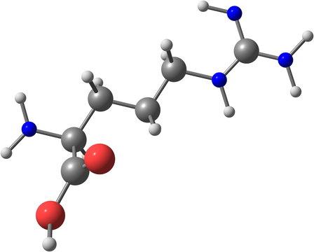 Arginine molecular structure on white background