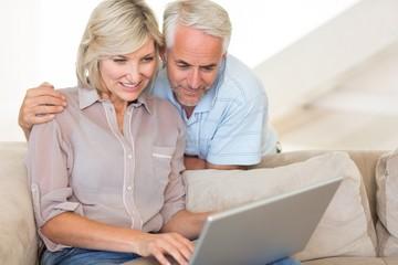 Mature couple using laptop on sofa