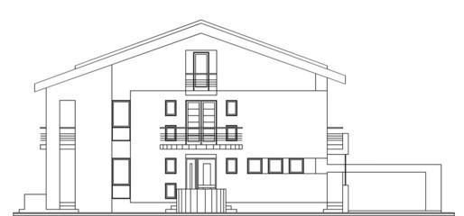Modern American House Facade Architectural Blueprint