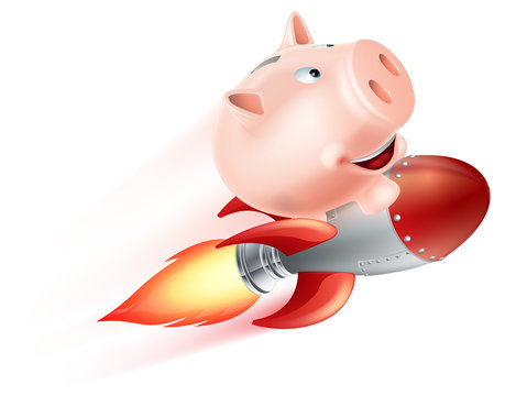 Flying Rocket Piggy Bank