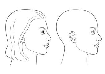 Schwarz-weiße Zeichnung eines Frauenprofils mit und ohne Haare