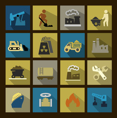 vector power generation icons set
