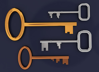 Key gold silver on blue background