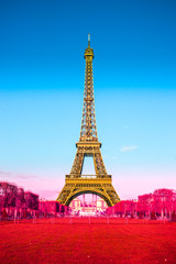 Eiffel tower with graduated french flag