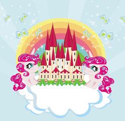 Card with a cute unicorns rainbow and fairy-tale princess castle
