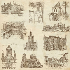Architecture around the World (no.7) - hand drawings on paper