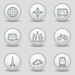 Travel web icons set 2, circle white matt buttons