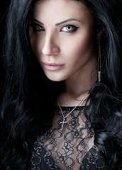 Luxury girl in lace black dress