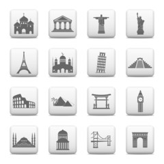 Web buttons, famous international landmarks icons - Vector